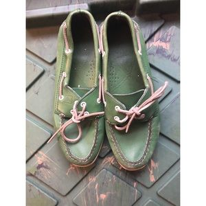 Green Sperry Top Sider
